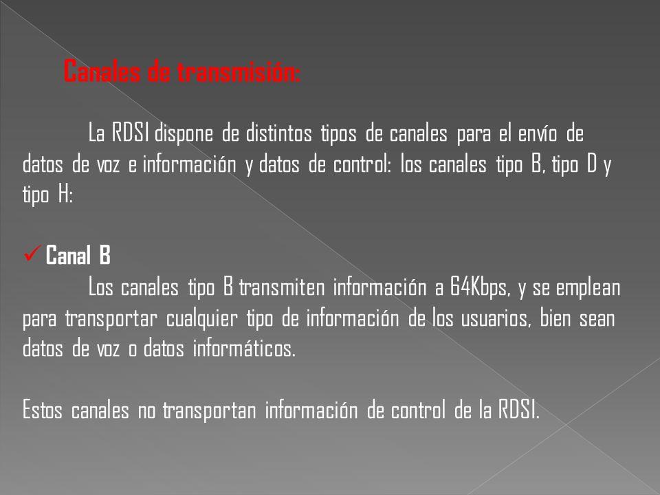 La RDSI dispone de distintos tipos de canales para el envío de datos de voz e información y datos de control: los canales tipo B, tipo D y tipo H: Can