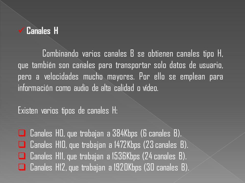 Canales H Combinando varios canales B se obtienen canales tipo H, que también son canales para transportar solo datos de usuario, pero a velocidades m