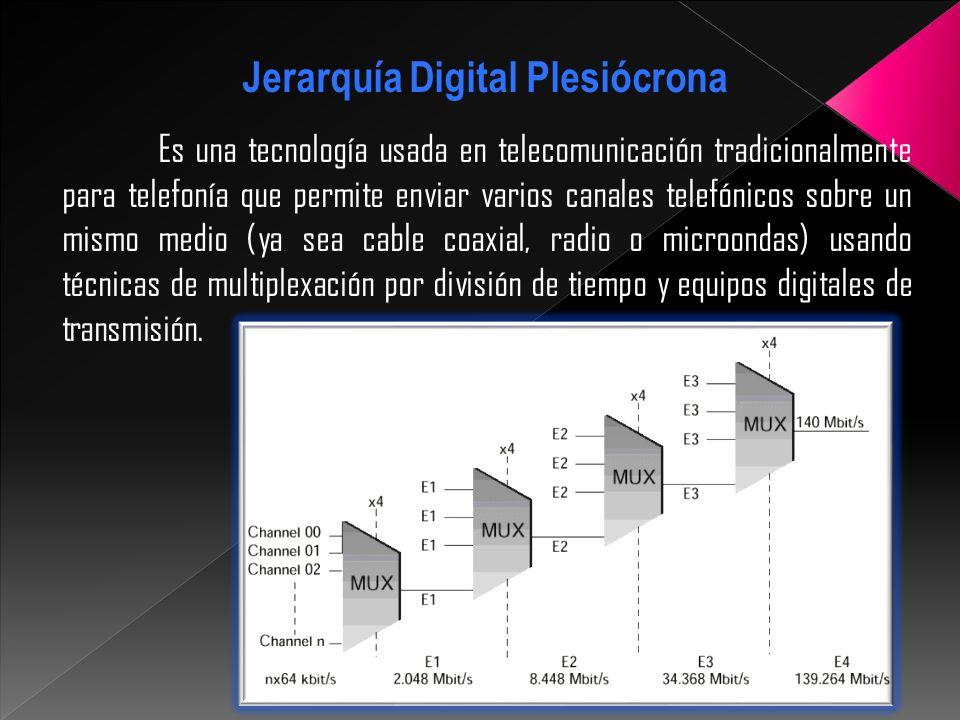 Existen tres jerarquías PDH: Jerarquía Digital Plesiócrona La europea usa la trama descrita en la norma G.732 de la UIT-T La norteamericana y la japonesa se basan en la trama descrita en G.733 de la UIT-T.