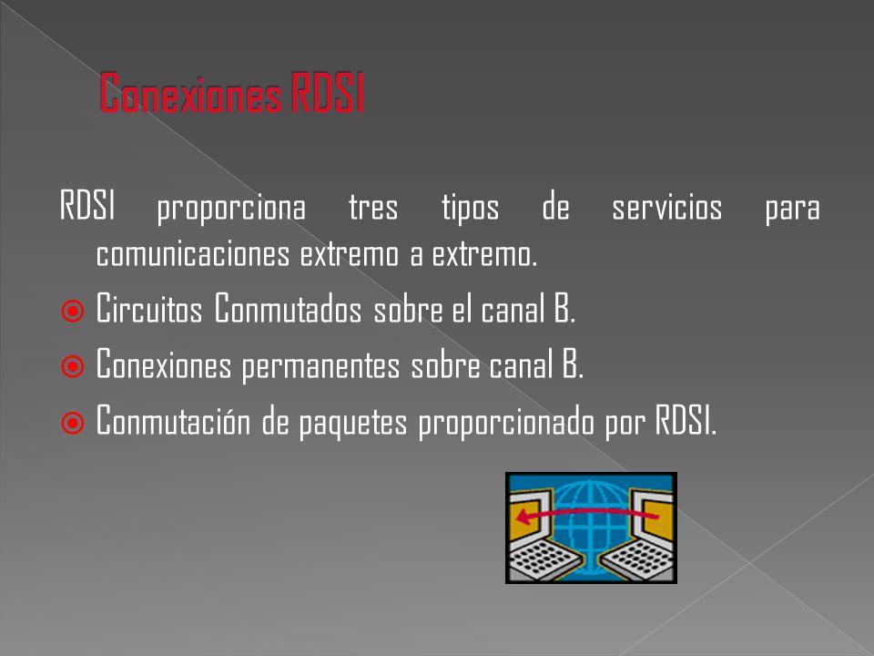 RDSI proporciona tres tipos de servicios para comunicaciones extremo a extremo. Circuitos Conmutados sobre el canal B. Conexiones permanentes sobre ca