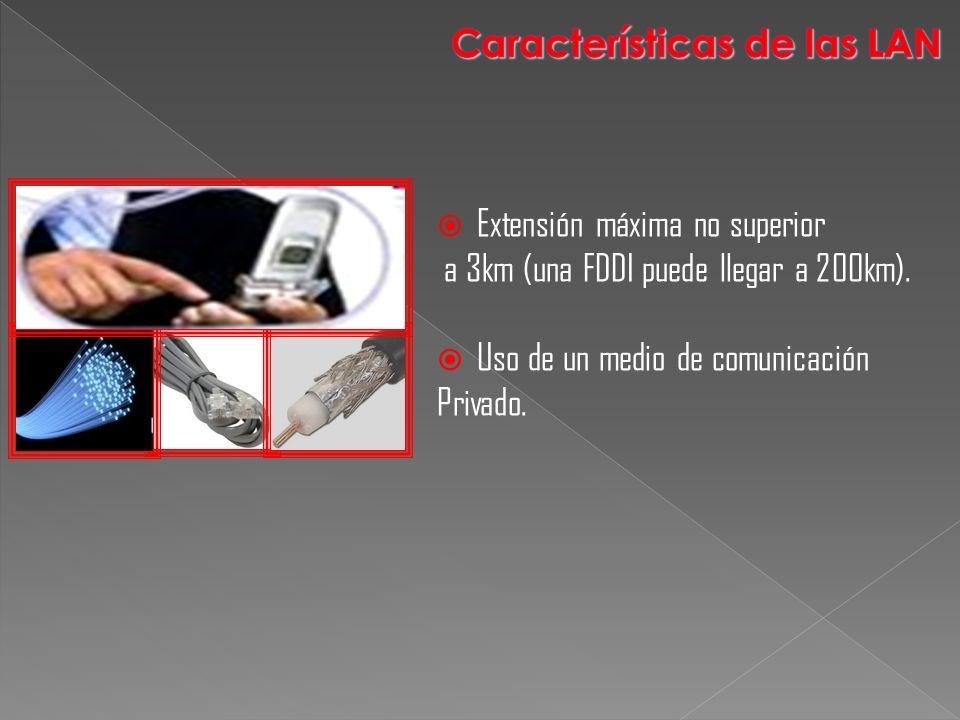Extensión máxima no superior a 3km (una FDDI puede llegar a 200km). Uso de un medio de comunicación Privado.