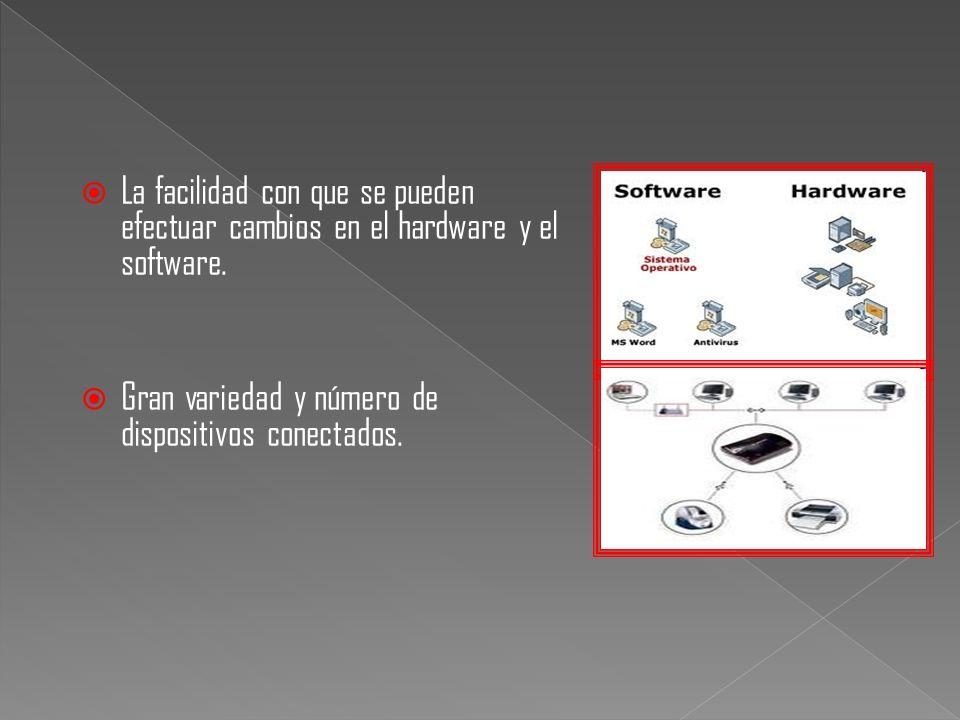 La facilidad con que se pueden efectuar cambios en el hardware y el software. Gran variedad y número de dispositivos conectados.