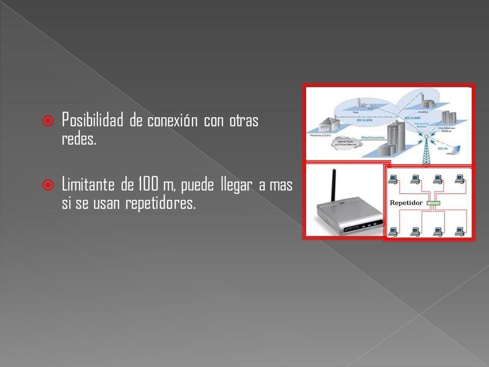 Posibilidad de conexión con otras redes. Limitante de 100 m, puede llegar a mas si se usan repetidores.