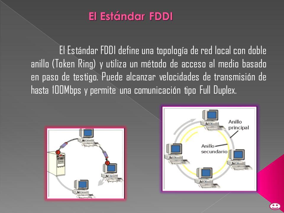 El Estándar FDDI define una topología de red local con doble anillo (Token Ring) y utiliza un método de acceso al medio basado en paso de testigo. Pue
