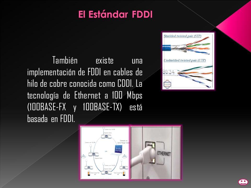 También existe una implementación de FDDI en cables de hilo de cobre conocida como CDDI. La tecnología de Ethernet a 100 Mbps (100BASE-FX y 100BASE-TX