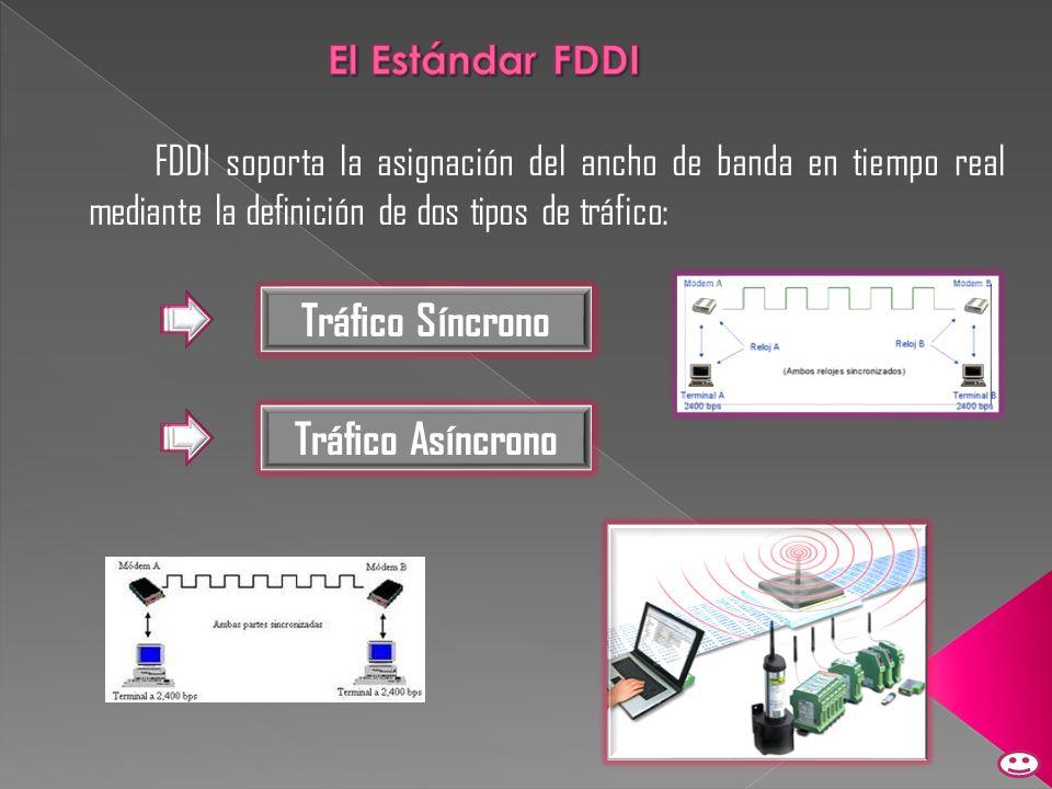 FDDI soporta la asignación del ancho de banda en tiempo real mediante la definición de dos tipos de tráfico: Tráfico Síncrono Tráfico Asíncrono