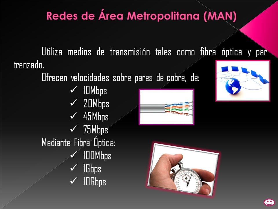 Utiliza medios de transmisión tales como fibra óptica y par trenzado. Ofrecen velocidades sobre pares de cobre, de: 10Mbps 20Mbps 45Mbps 75Mbps Median