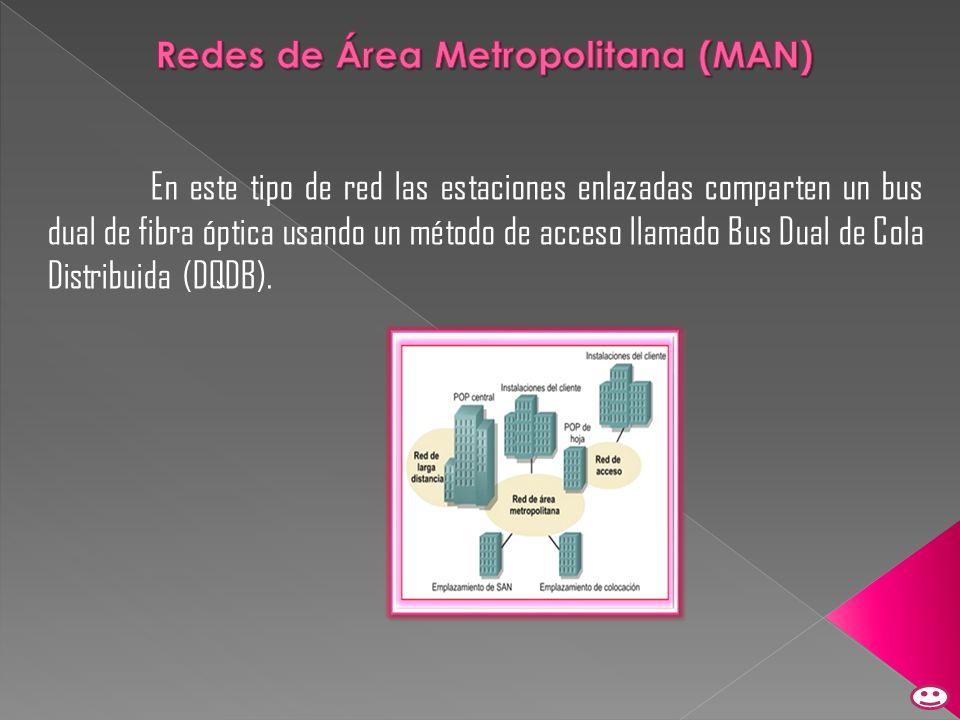 En este tipo de red las estaciones enlazadas comparten un bus dual de fibra óptica usando un método de acceso llamado Bus Dual de Cola Distribuida (DQ
