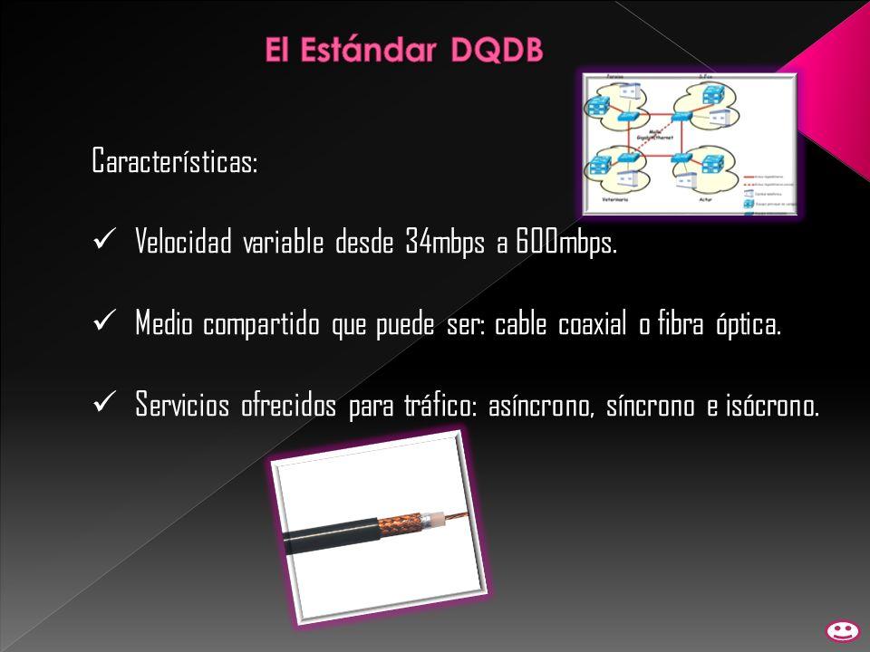 Características: Velocidad variable desde 34mbps a 600mbps. Medio compartido que puede ser: cable coaxial o fibra óptica. Servicios ofrecidos para trá