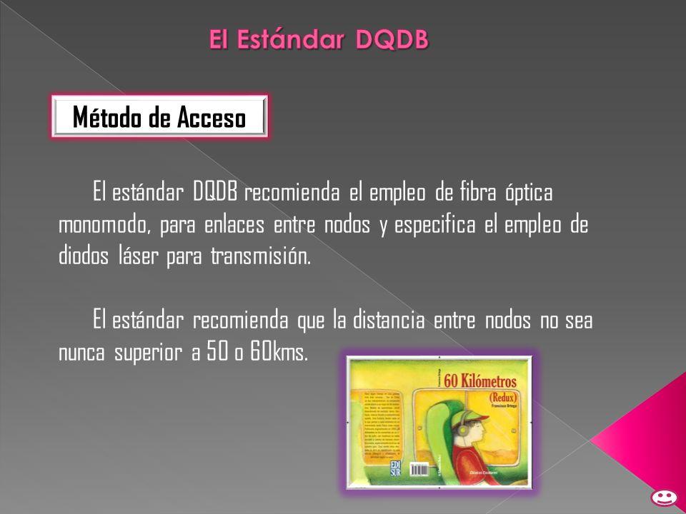 El estándar DQDB recomienda el empleo de fibra óptica monomodo, para enlaces entre nodos y especifica el empleo de diodos láser para transmisión. El e