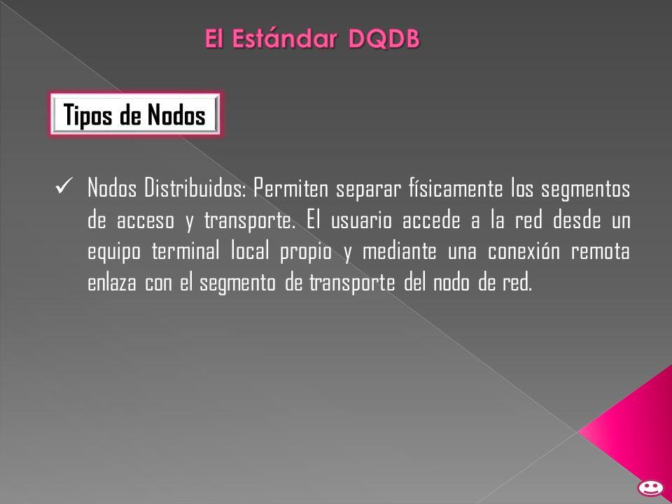 Tipos de Nodos Nodos Distribuidos: Permiten separar físicamente los segmentos de acceso y transporte. El usuario accede a la red desde un equipo termi