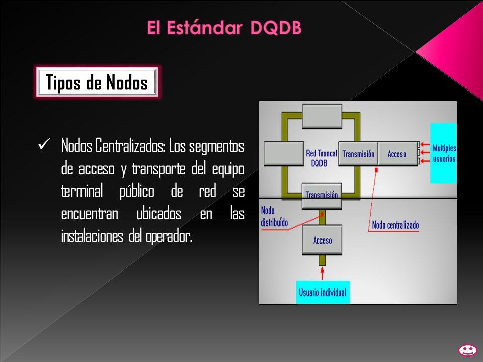 Tipos de Nodos Nodos Centralizados: Los segmentos de acceso y transporte del equipo terminal público de red se encuentran ubicados en las instalacione