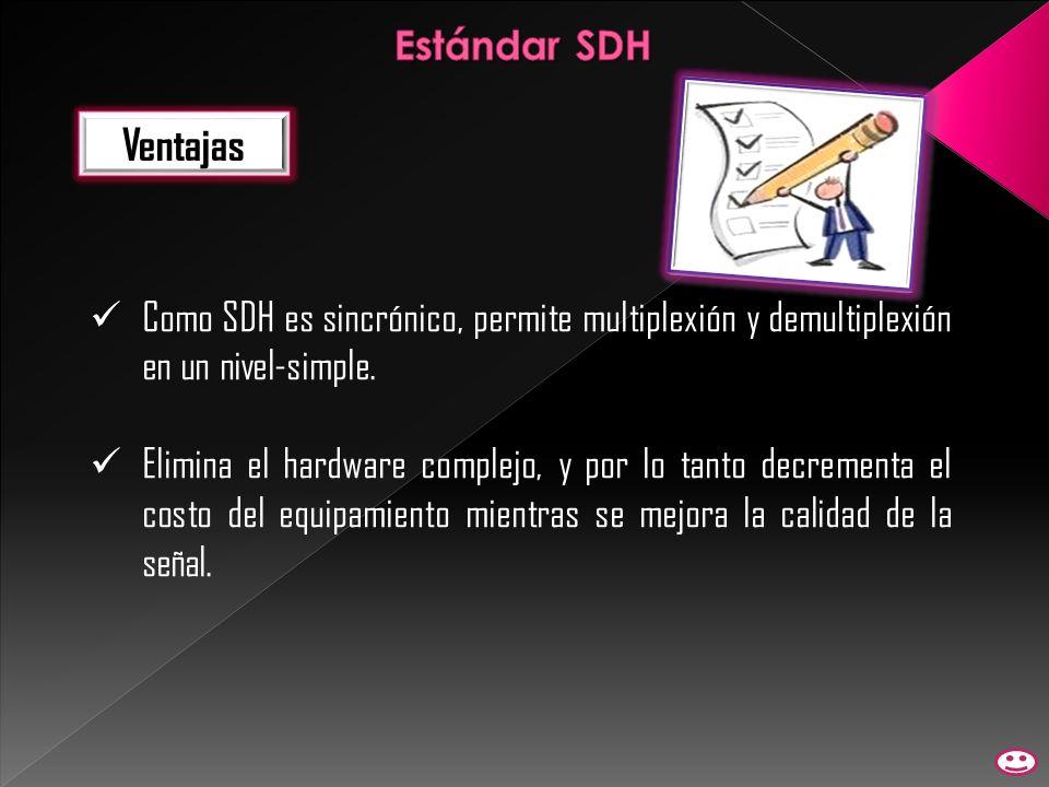Ventajas Como SDH es sincrónico, permite multiplexión y demultiplexión en un nivel-simple. Elimina el hardware complejo, y por lo tanto decrementa el
