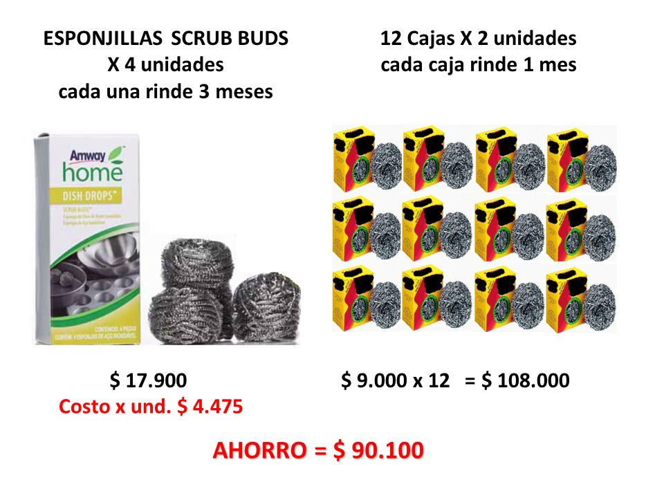ESPONJILLAS SCRUB BUDS X 4 unidades cada una rinde 3 meses $ 17.900 $ 9.000 x 12 = $ 108.000 Costo x und.