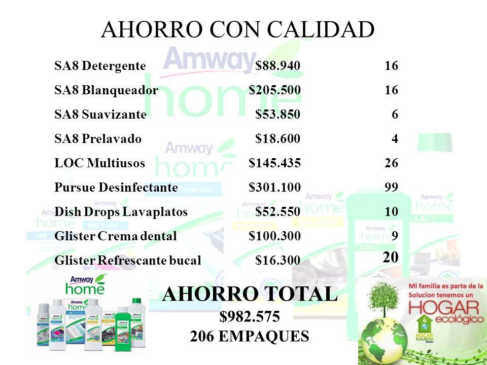 Aprovecha al máximo tus productos AHORRO CON CALIDAD SA8 Detergente SA8 Blanqueador SA8 Suavizante SA8 Prelavado LOC Multiusos Pursue Desinfectante Di