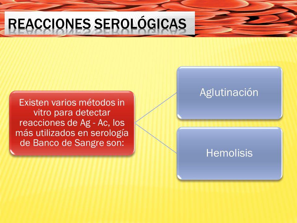 Existen varios métodos in vitro para detectar reacciones de Ag - Ac, los más utilizados en serología de Banco de Sangre son: AglutinaciónHemolisis