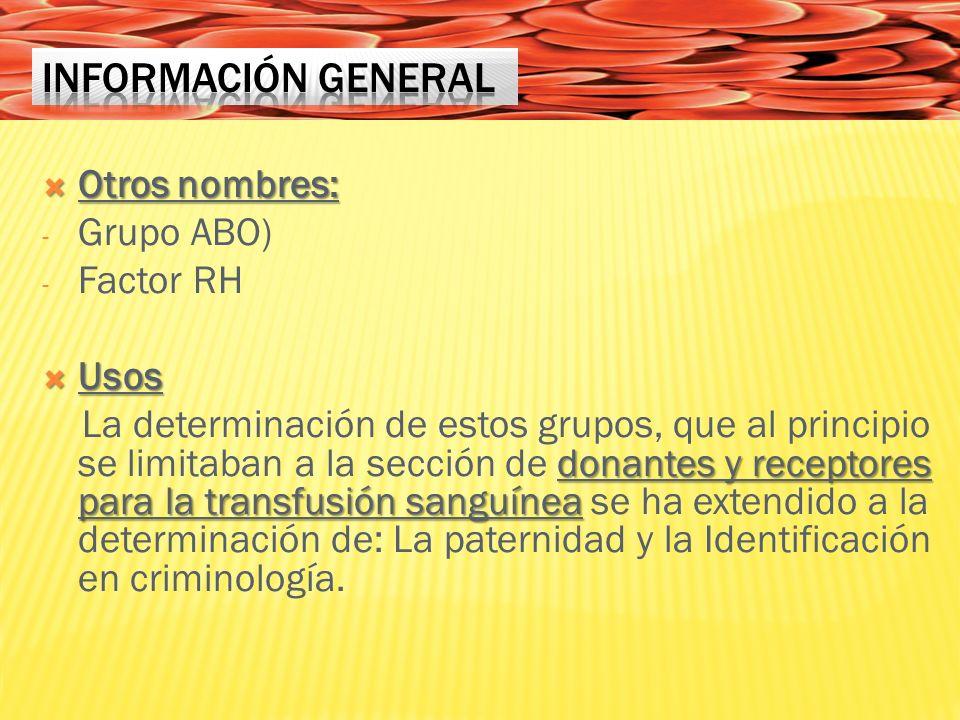 Otros nombres: Otros nombres: - Grupo ABO) - Factor RH Usos Usos donantes y receptores para la transfusión sanguínea La determinación de estos grupos, que al principio se limitaban a la sección de donantes y receptores para la transfusión sanguínea se ha extendido a la determinación de: La paternidad y la Identificación en criminología.