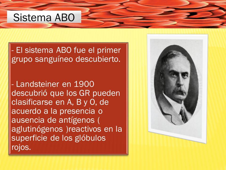 Sistema ABO - El sistema ABO fue el primer grupo sanguíneo descubierto.