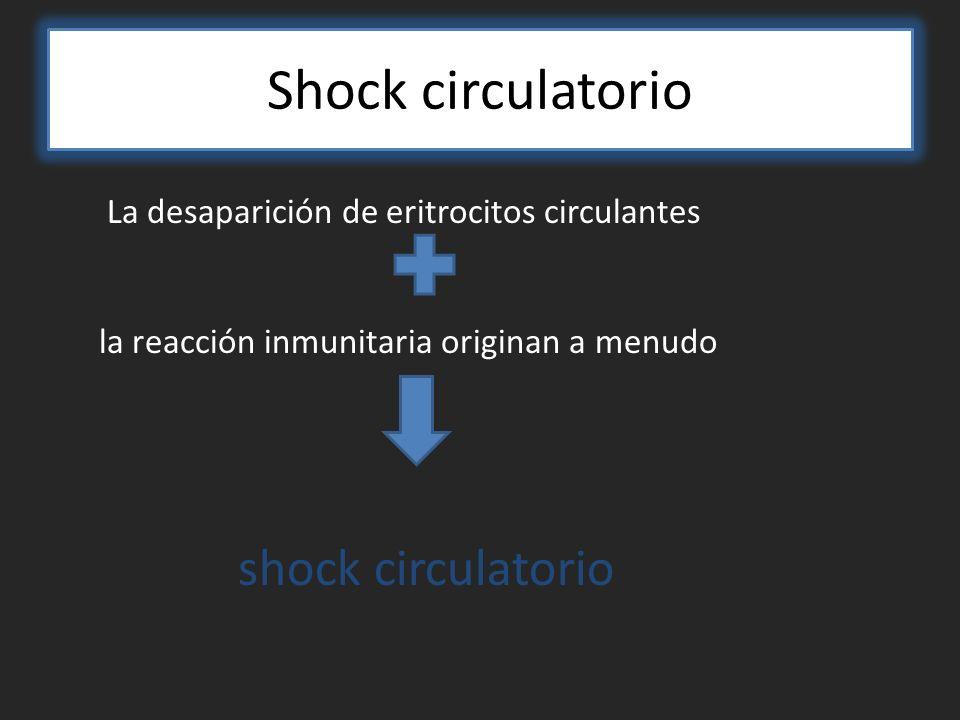 Shock circulatorio La desaparición de eritrocitos circulantes la reacción inmunitaria originan a menudo shock circulatorio