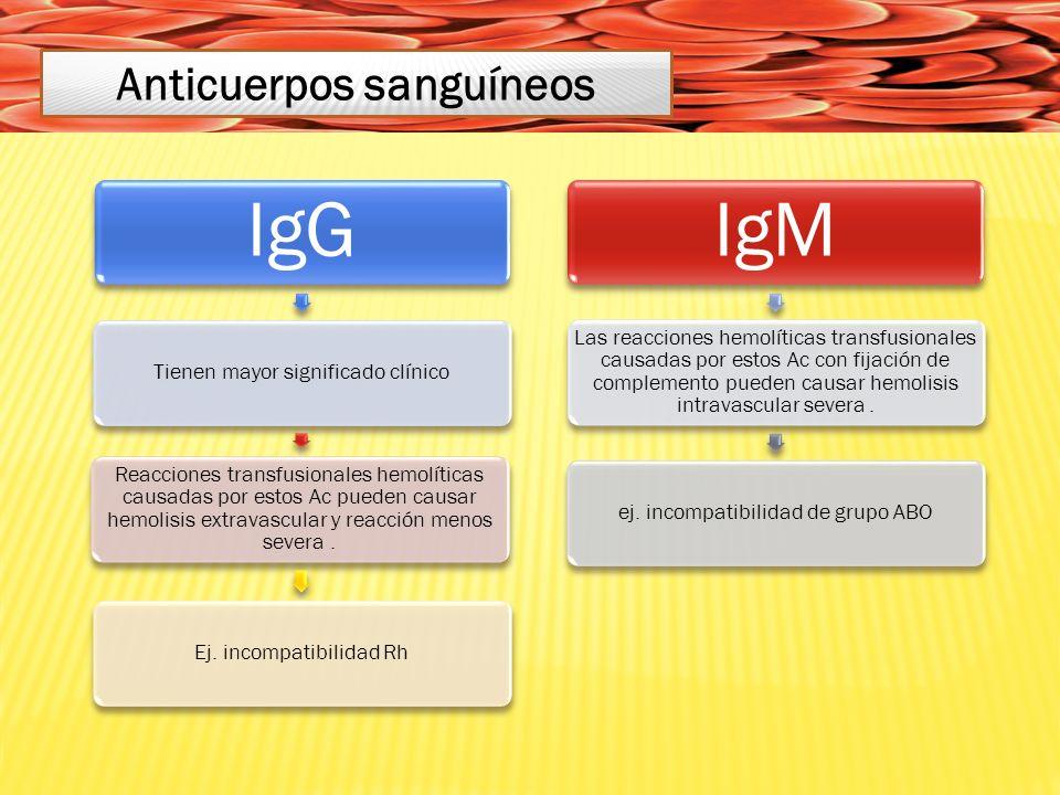 IgG Tienen mayor significado clínico Reacciones transfusionales hemolíticas causadas por estos Ac pueden causar hemolisis extravascular y reacción menos severa.