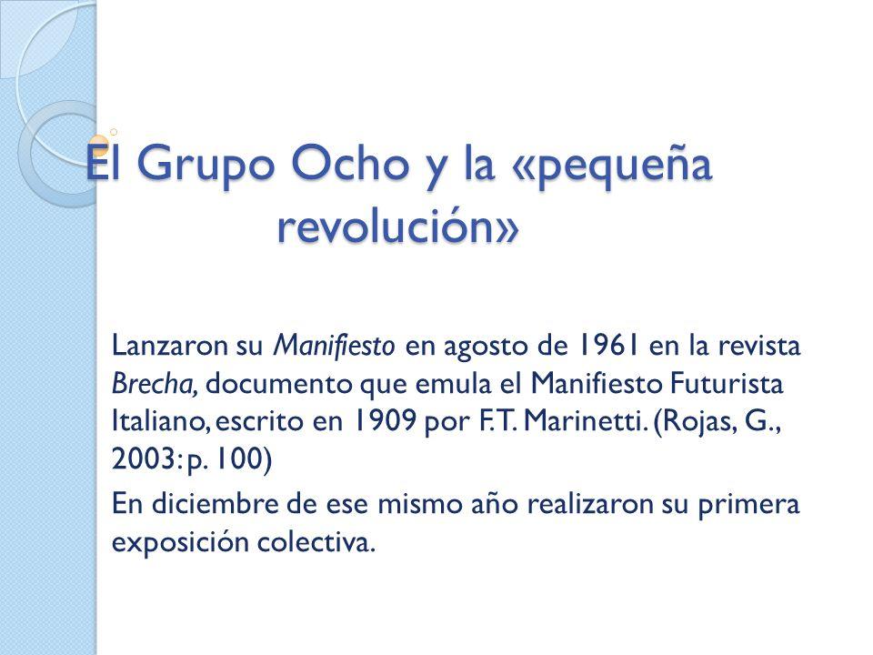 El Grupo Ocho y la «pequeña revolución» Lanzaron su Manifiesto en agosto de 1961 en la revista Brecha, documento que emula el Manifiesto Futurista Ita