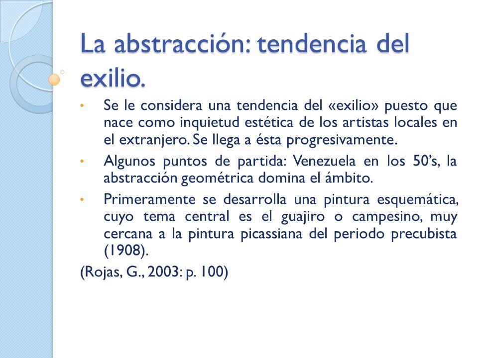 La abstracción: tendencia del exilio. Se le considera una tendencia del «exilio» puesto que nace como inquietud estética de los artistas locales en el