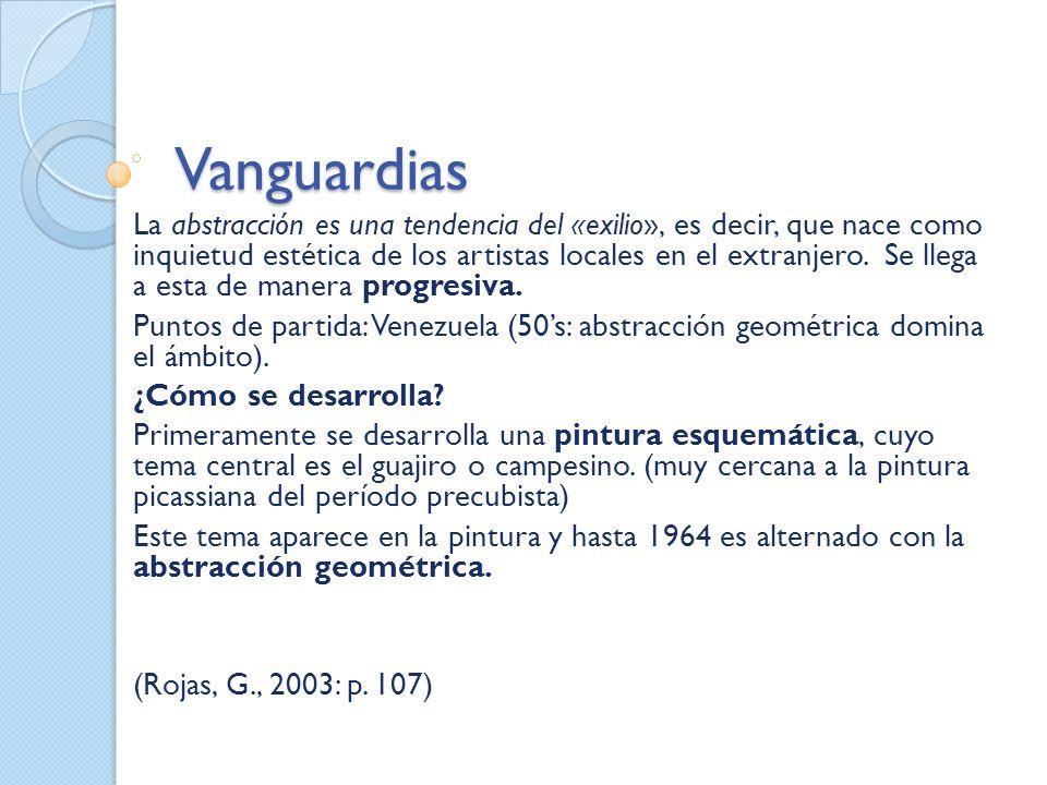 Vanguardias La abstracción es una tendencia del «exilio», es decir, que nace como inquietud estética de los artistas locales en el extranjero. Se lleg