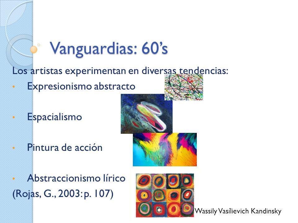 Vanguardias: 60s Los artistas experimentan en diversas tendencias: Expresionismo abstracto Espacialismo Pintura de acción Abstraccionismo lírico (Roja