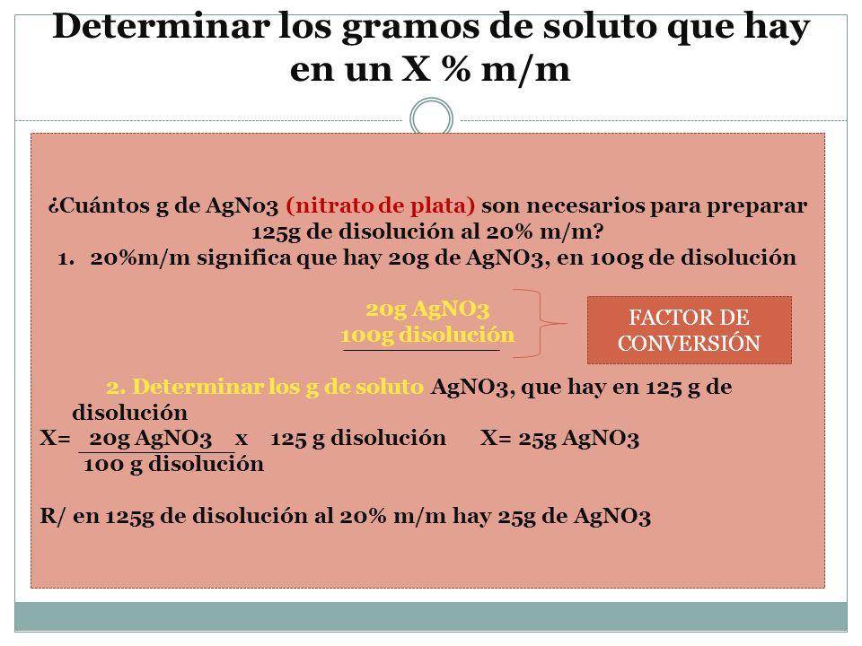 Determinar los gramos de soluto que hay en un X % m/m ¿Cuántos g de AgNo3 (nitrato de plata) son necesarios para preparar 125g de disolución al 20% m/
