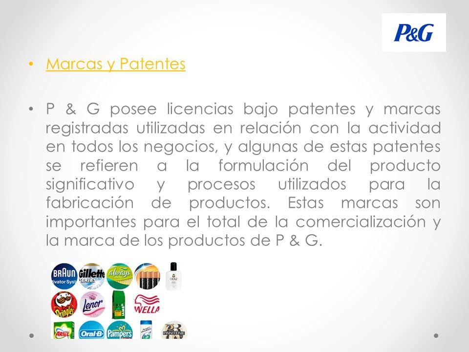 Marcas y Patentes P & G posee licencias bajo patentes y marcas registradas utilizadas en relación con la actividad en todos los negocios, y algunas de estas patentes se refieren a la formulación del producto significativo y procesos utilizados para la fabricación de productos.