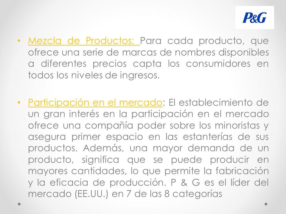 Mezcla de Productos: Para cada producto, que ofrece una serie de marcas de nombres disponibles a diferentes precios capta los consumidores en todos los niveles de ingresos.