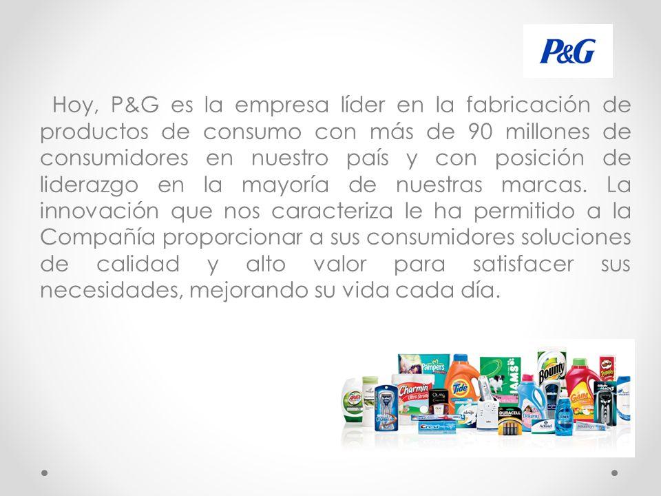 Hoy, P&G es la empresa líder en la fabricación de productos de consumo con más de 90 millones de consumidores en nuestro país y con posición de liderazgo en la mayoría de nuestras marcas.