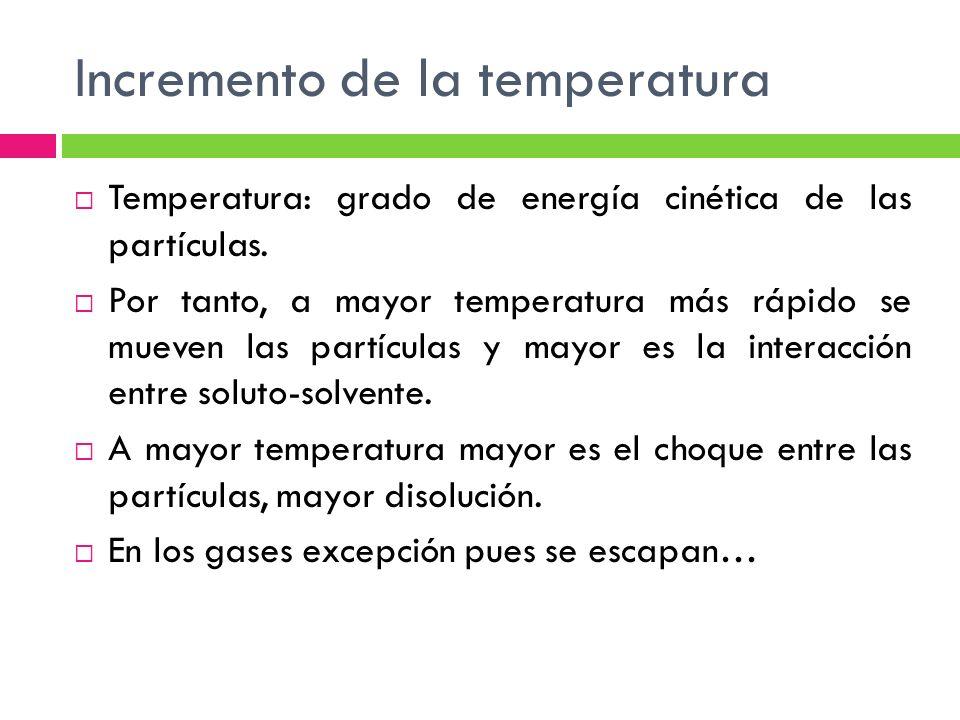 Incremento de la temperatura Temperatura: grado de energía cinética de las partículas.