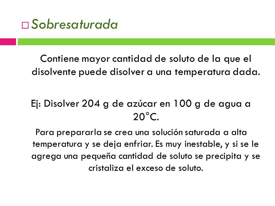 Sobresaturada Contiene mayor cantidad de soluto de la que el disolvente puede disolver a una temperatura dada.