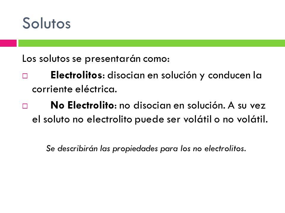 Solutos Los solutos se presentarán como: Electrolitos: disocian en solución y conducen la corriente eléctrica.