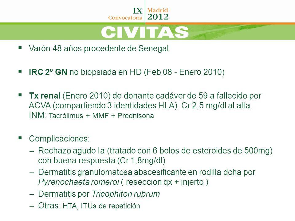 Varón 48 años procedente de Senegal IRC 2º GN no biopsiada en HD (Feb 08 - Enero 2010) Tx renal (Enero 2010) de donante cadáver de 59 a fallecido por