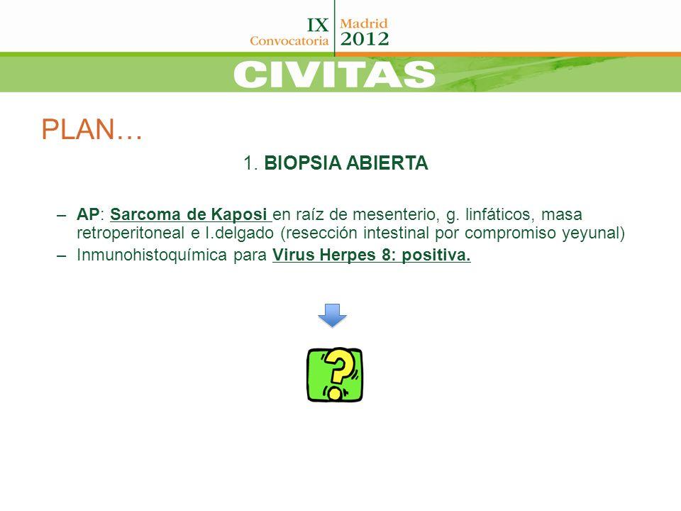 PLAN… 1.BIOPSIA ABIERTA –AP: Sarcoma de Kaposi en raíz de mesenterio, g.
