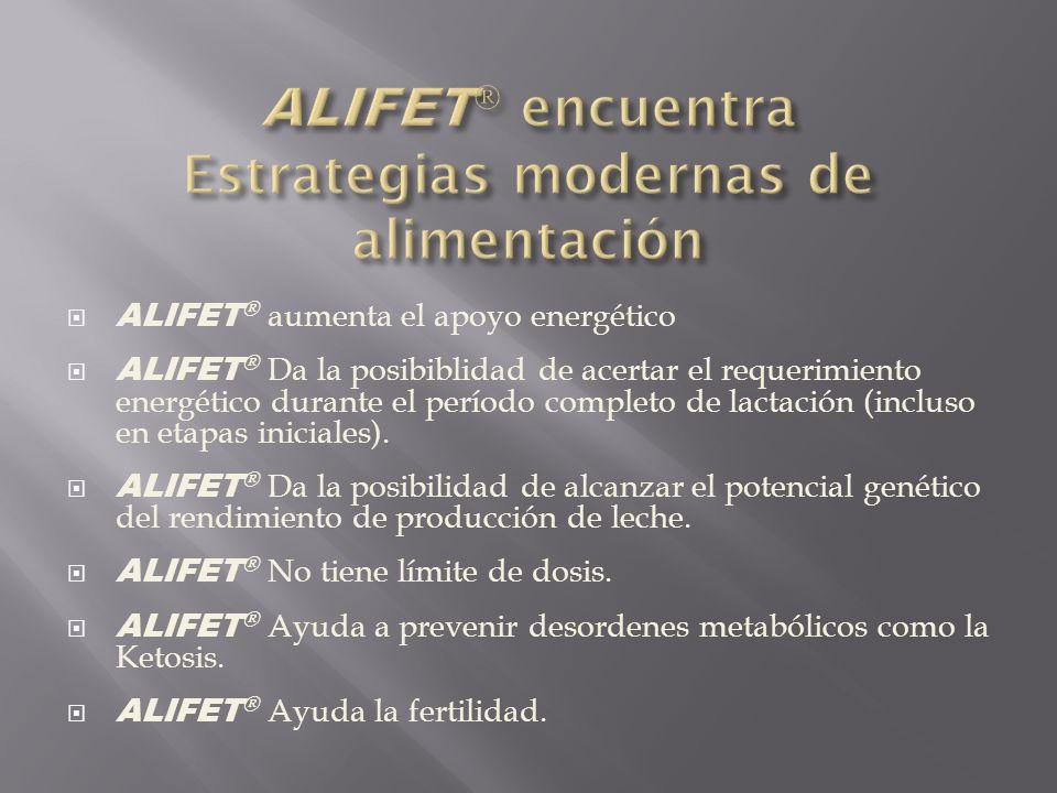 ALIFET ® ALIFET ® Por ser inerte al rumen, los componentes energéticos que pueden ser metabolizados allí, como la dextrosa, el almidón, entre otros, tienen que adicionarse adecuadamente para tener una optima función del rumen.
