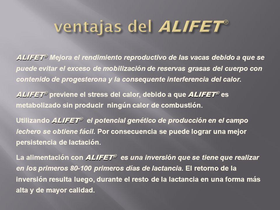 ALIFET ® ALIFET ® Mejora el rendimiento reproductivo de las vacas debido a que se puede evitar el exceso de mobilización de reservas grasas del cuerpo