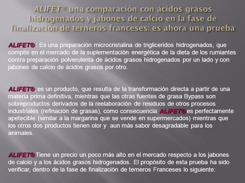ALIFET® ALIFET® : Objetivos del estudio: - Buscaremos beneficios o pérdidas, sobre las variables técnicas y económicas, según el tipo de grasa Bypass utilizada -Establecer la causa de eventuales prestaciones diversas de los productos a compararse.