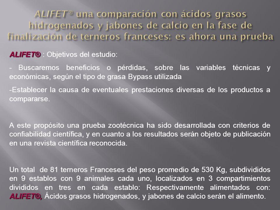 ALIFET® ALIFET® : Objetivos del estudio: - Buscaremos beneficios o pérdidas, sobre las variables técnicas y económicas, según el tipo de grasa Bypass