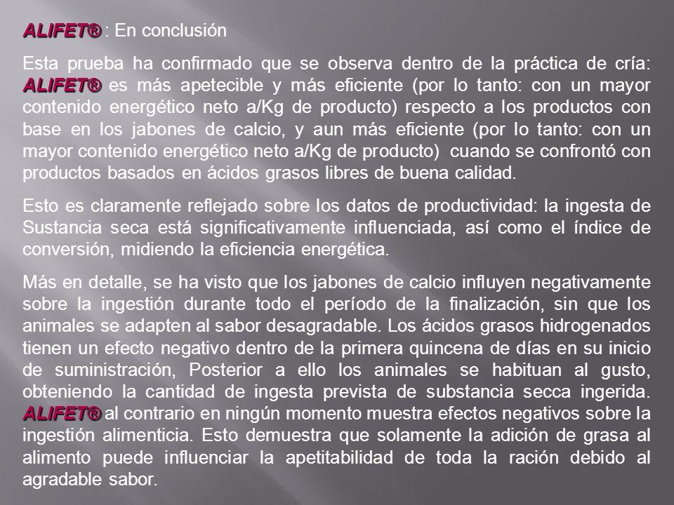 ALIFET® ALIFET® : En conclusión ALIFET® Esta prueba ha confirmado que se observa dentro de la práctica de cría: ALIFET® es más apetecible y más eficie