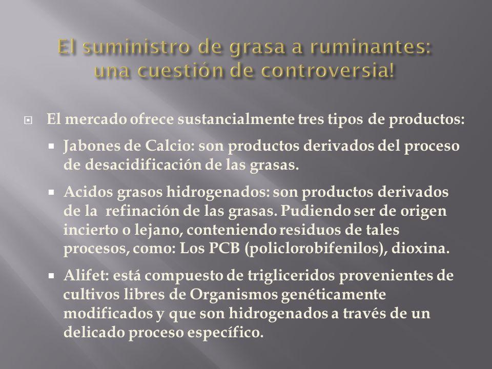 El mercado ofrece sustancialmente tres tipos de productos: Jabones de Calcio: son productos derivados del proceso de desacidificación de las grasas. A