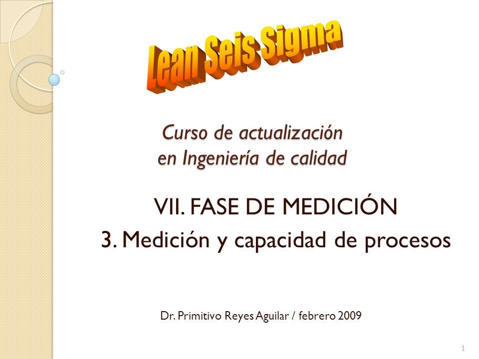 Curso de actualización en Ingeniería de calidad I.VII. FASE DE MEDICIÓN II.3. Medición y capacidad de procesos Dr. Primitivo Reyes Aguilar / febrero 2