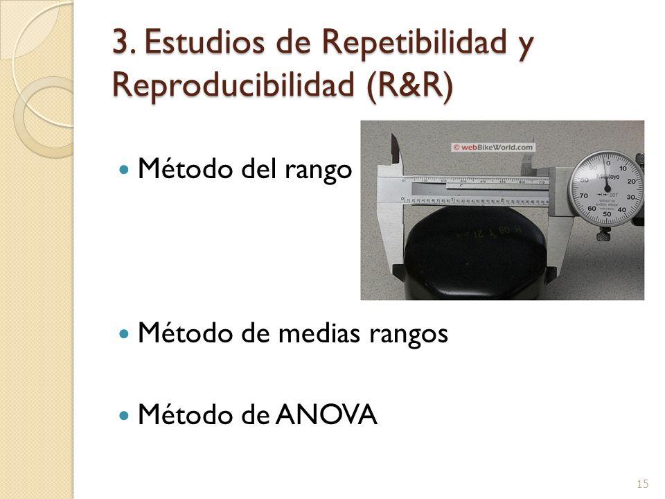 3. Estudios de Repetibilidad y Reproducibilidad (R&R) Método del rango Método de medias rangos Método de ANOVA 15