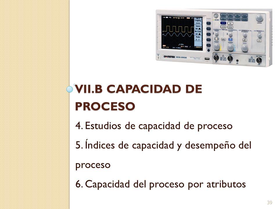 VII.B CAPACIDAD DE PROCESO 4. Estudios de capacidad de proceso 5. Índices de capacidad y desempeño del proceso 6. Capacidad del proceso por atributos