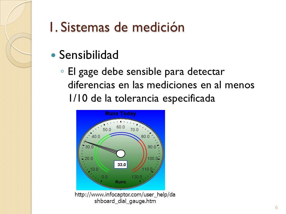 1. Sistemas de medición Sensibilidad El gage debe sensible para detectar diferencias en las mediciones en al menos 1/10 de la tolerancia especificada