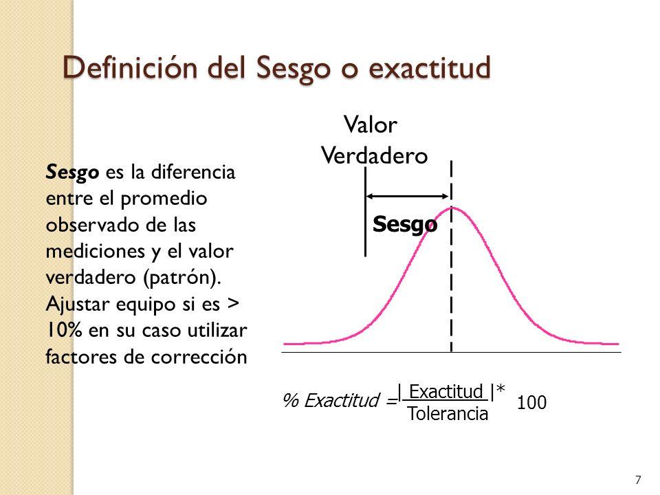7 Sesgo es la diferencia entre el promedio observado de las mediciones y el valor verdadero (patrón).