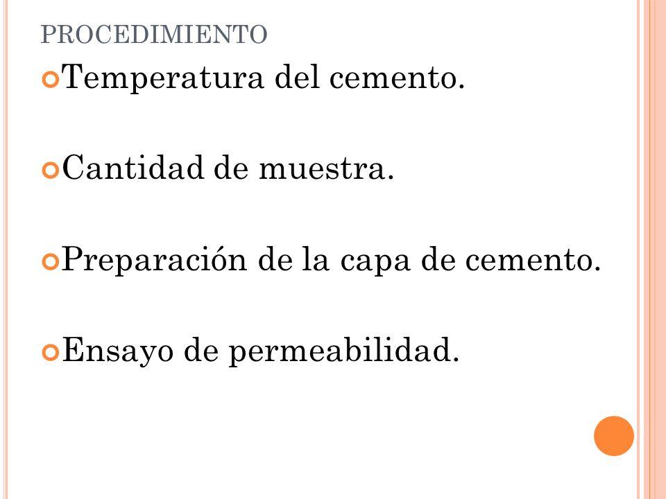 PROCEDIMIENTO Temperatura del cemento.Cantidad de muestra.