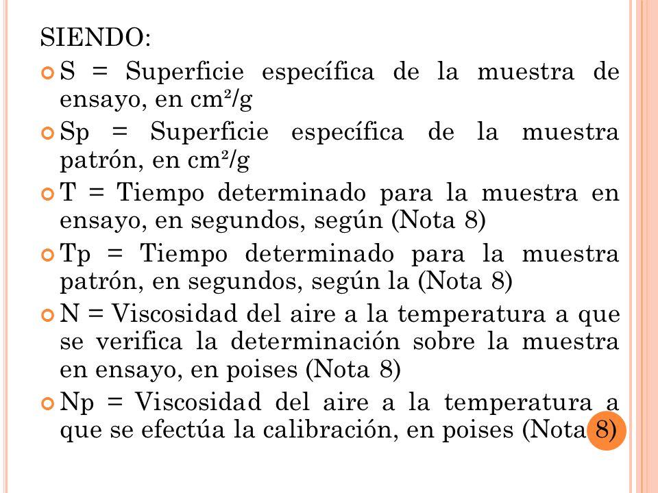 SIENDO: S = Superficie específica de la muestra de ensayo, en cm²/g Sp = Superficie específica de la muestra patrón, en cm²/g T = Tiempo determinado para la muestra en ensayo, en segundos, según (Nota 8) Tp = Tiempo determinado para la muestra patrón, en segundos, según la (Nota 8) N = Viscosidad del aire a la temperatura a que se verifica la determinación sobre la muestra en ensayo, en poises (Nota 8) Np = Viscosidad del aire a la temperatura a que se efectúa la calibración, en poises (Nota 8)